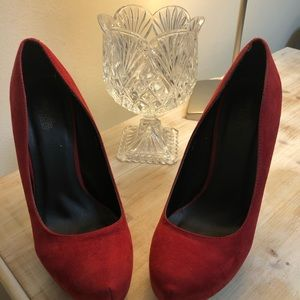 Red suede heel shoes Charlotte Russe